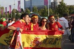 Spanish fans in Donetsk. DONETSK, UKRAINE - JUNE 27, 2012: Spanish fans in Donetsk before the semi-final match of UEFA EURO 2012 Spain vs. Portugal. The joy of Royalty Free Stock Image
