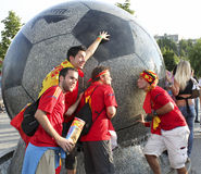 Spanish fans in Donetsk Royalty Free Stock Photography