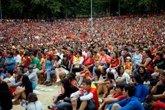 Spanish fans during the FIFA Soccer World Cup royalty free stock images