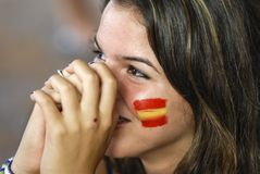 Spanish fan. 11.07.2010 Royalty Free Stock Image
