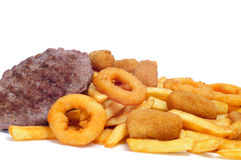 Spanish fattening food: burgers, croquettes, calamares and french fries. On a white background stock image