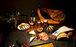 Spanish festive gourmet table, Christmas Stock Photo