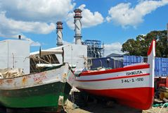 Spanish fishing boats, Puente Mayorga. Stock Photography