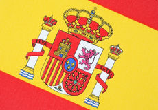 Spanish Flag. Close-up of Spanish flag on a diagonal tilt Stock Photography