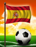 Spanish flag and ball royalty free stock photos