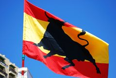 Spanish flag with bull. Stock Photo