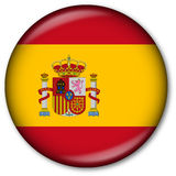 Spanish Flag Button. Glassy Web Button with the Spanish Flag Stock Photography