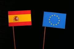Spanish flag with European Union EU flag  on black Royalty Free Stock Image