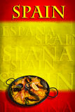 Spanish flag with paella. Traditional spanish dish: paella valenciana on spanish flag Stock Images