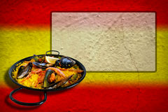 Spanish flag with paella Royalty Free Stock Photography