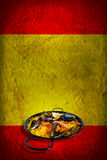 Spanish flag with paella Stock Images