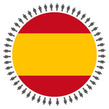 Spanish flag with people Stock Images