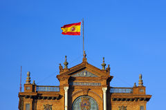 Spanish flag, Plaza de Espana, Sevilla Stock Photos