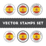 Spanish flag rubber stamps set. National flags grunge stamps. Country round badges collection Royalty Free Stock Photos