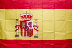 Spanish flag with shield and royal crown. Constitutional monarch. Y. Identity royalty free stock image