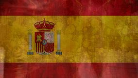 spanish flag with people walking in the street royalty free illustration