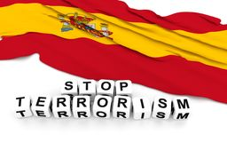 Spanish flag and text stop terrorism. Royalty Free Stock Photography