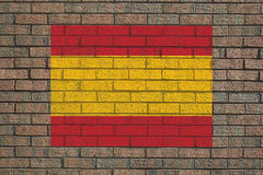 Spanish flag on wall Stock Images