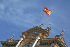 Spanish flag waving Stock Photo