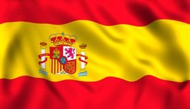 spanish flag waving in the wind symbol of spain stock illustration