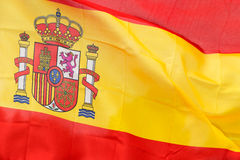 Spanish flag in the wind in sunlight Royalty Free Stock Images