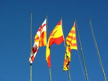 Spanish flags Stock Photo