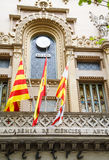 Spanish Flags on Old Museum in Barcelona Royalty Free Stock Images