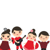 Spanish flamenco dancer card design, banner template. Kawaii cute face with pink cheeks winking eyes. Gipsy girl and boy, red blac Stock Photos