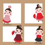 Spanish flamenco dancer card design, banner template. Woman Kawaii cute face with pink cheeks. Gipsy girl, red black dress, polka Stock Photos