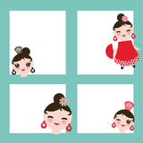 Spanish flamenco dancer card design, banner template. Woman Kawaii cute face with pink cheeks. Gipsy girl, red black dress, polka Stock Images