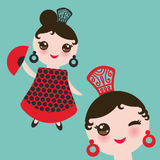 Spanish flamenco dancer card design, banner template. Woman Kawaii cute face with pink cheeks. Gipsy girl, red black dress, polka Royalty Free Stock Image