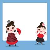 Spanish flamenco dancer card design, banner template. Woman Kawaii cute face with pink cheeks. Gipsy girl, red black dress, polka Royalty Free Stock Photography
