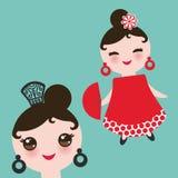 Spanish flamenco dancer card design, banner template. Woman Kawaii cute face with pink cheeks. Gipsy girl, red dress, polka dot fa Royalty Free Stock Image