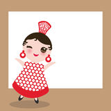 Spanish flamenco dancer card design, banner template. Woman Kawaii cute face pink cheeks, winking eyes. Gipsy girl, red dress, pol Stock Photo
