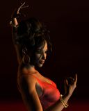 Spanish Flamenco Dancer on a dark stage Royalty Free Stock Photo