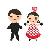 Spanish flamenco dancer. Kawaii cute face with pink cheeks and winking eyes. Gipsy girl and boy, red black white dress, polka dot