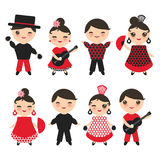 Spanish flamenco dancer set. Kawaii cute face with pink cheeks and winking eyes. Gipsy girl and boy, red black white dress, polka Stock Photography