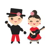 Spanish flamenco dancer set. Kawaii cute face with pink cheeks and winking eyes. Gipsy girl with guitar and boy with castanets, re royalty free illustration