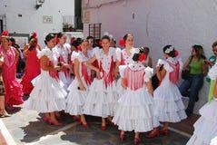 Spanish flamenco dancers in the street. Royalty Free Stock Photos