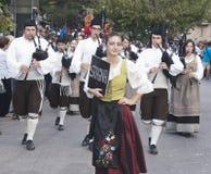 Spanish folk musicians group playing bagpipes Stock Photos