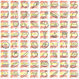 Spanish food symbols. Splotches with the spanish colors  and food symbols Royalty Free Stock Photo