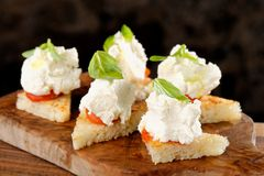 Spanish food tapas. Toasted bread with fresh cheese Royalty Free Stock Photography