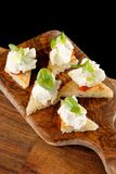 Spanish food tapas. Toasted bread with fresh cheese Stock Images