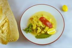 zucchini. Spanish food zucchini stew and bread Stock Photos