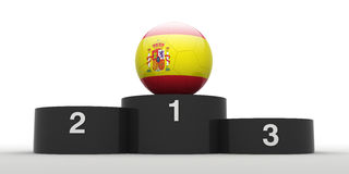 Spanish football. Football and black podium. Isolated. The one of 32 teams qualified for the 2010 FIFA World Cup in South Africa Stock Images