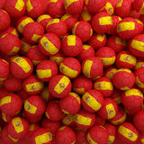 Spanish football balls (many). 3D render background. Spanish red and yellow football balls (many). 3D render background royalty free illustration
