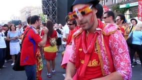 Spanish football fans before final match of European Football Championship stock video