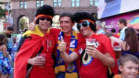 Spanish football fans before final match of European Football Championship stock video footage