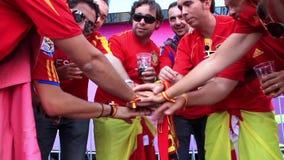 Spanish football fans handshake stock video