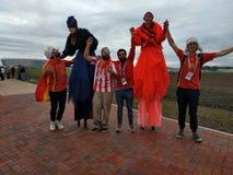 Spanish football fans in Kaliningrad Royalty Free Stock Image